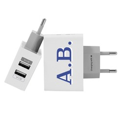 Customized Dual Usb Wall Charger for iPhone and Android - Initials - Blue and White