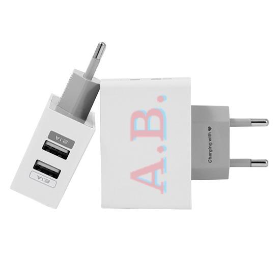 Carregador Personalizado iPhone/Android Duplo USB de Parede Gocase - Iniciais - Rosa e Azul Light