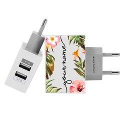 Customized Dual Usb Wall Charger for iPhone and Android - Floral Handwritten