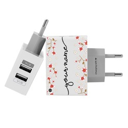 Customized Dual Usb Wall Charger for iPhone and Android - Cherry Flower Handwritten
