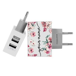 Customized Dual Usb Wall Charger for iPhone and Android - Rose Flowers
