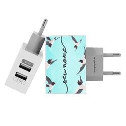 Carregador Personalizado iPhone/Android Duplo USB de Parede Gocase - Andorinha Manuscrita by Bruna Vieira