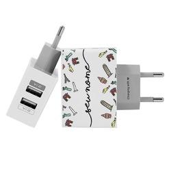 Carregador Personalizado iPhone/Android Duplo USB de Parede Gocase - Viagem dos Sonhos Manuscrita by Bruna Vieira