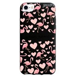 Black Case  Flamingos Handwritten Phone Case