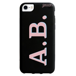 Black Case  Initials - Pink and Light Blue Phone Case