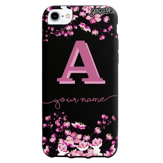 Black Case  Cherry Blossoms Initial Pink