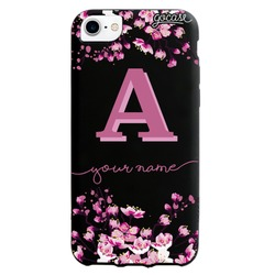 Black Case  Cherry Blossoms Initial Pink Phone Case