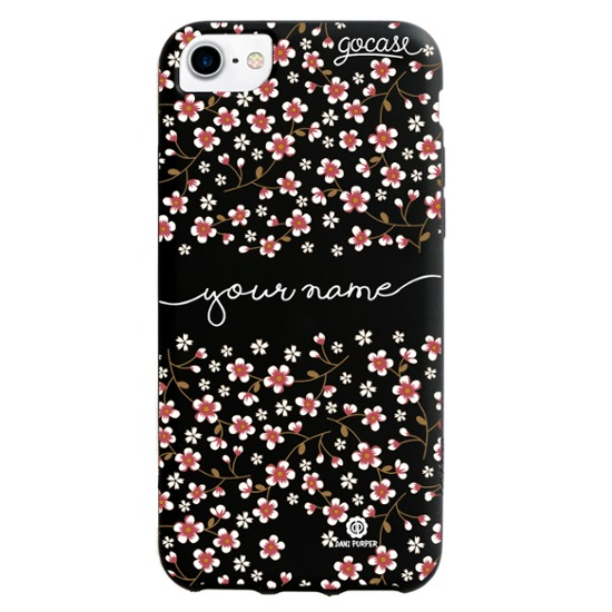 Black Case Cherry Flowers Handwritten