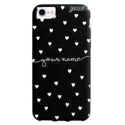 Black Case Pattern White Hearts Handwritten Phone Case