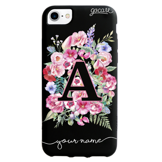 best service e7d16 e3582 Black Case - Initials With Flowers