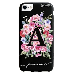 Black Case - Initials With Flowers Phone Case