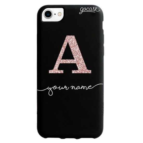 Black Case - Initial Glitter Rose
