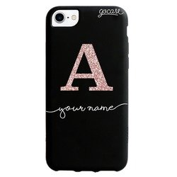 Black Case - Initial Glitter Rose Phone Case