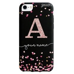 Black Case - Hearts Glitter Phone Case