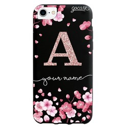 Black Case - Cherry Petals - Initial Glitter Phone Case