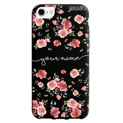 Black Case - Lovely Pink Flowers Handwritten Phone Case