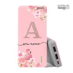 Carregador Portátil Power Bank (10000mAh) Rosa - Flamingo Glitter