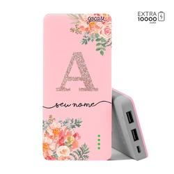 Carregador Portátil Power Bank (10000mAh) Rosa - Floral Glitter