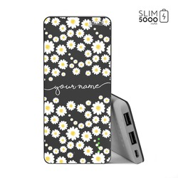Power Bank Slim Portable Charger (5000mAh) Black - Daisies Handwritten