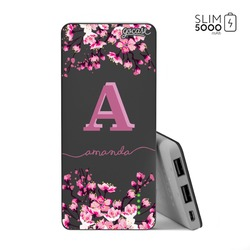 Power Bank Slim Portable Charger (5000mAh) Black - Cherry Blossoms Initial Pink