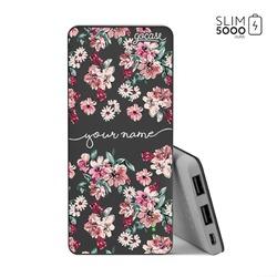 Power Bank Slim Portable Charger (5000mAh) Black - Rose Flowers