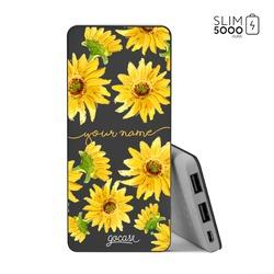 Power Bank Slim Portable Charger (5000mAh) Black - Sunflower Handwritten