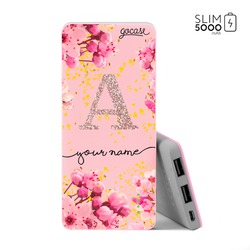 Power Bank Slim Portable Charger (5000mAh) Pink - Rose Gold Glitter
