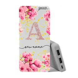 Carregador Portátil Power Bank (10000mAh) - Rose Gold Glitter