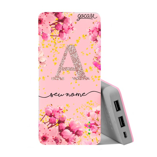 Carregador Portátil Power Bank (10000mAh) Rosa - Rose Gold Glitter