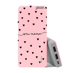 Carregador Portátil Power Bank (10000mAh) Rosa - Black Hearts Manuscrita