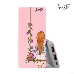Power Bank Slim Portable Charger (5000mAh) Pink - BFF - Floral (Left)