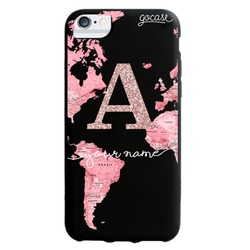 Black Case - Pink World Map Initial Glitter Phone Case