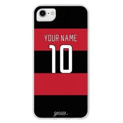 Team jersey - Black/Red Horizontal Stripes Phone Case