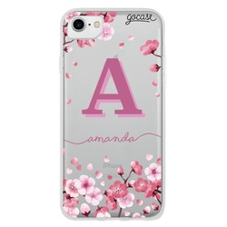 Cherry Petals Initial Phone Case