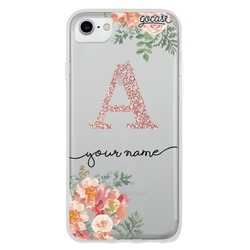 Floral Pink Initial Glitter Phone Case