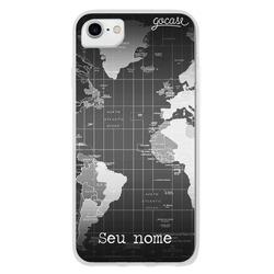 Capinha para celular Mapa Mundi Black Customizável