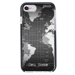 Capinha para celular Anti-Impacto PRO - Mapa Mundi Black Customizável