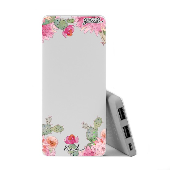 Carregador Portátil Power Bank Slim (5000mAh) - Cactos Glitter By Nah Cardoso
