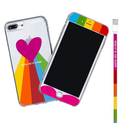 Kit Rainbow Heart (Iphone Case + Lightning Cable to USB for iPhone + Screen Protector)