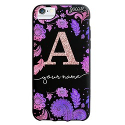 Black case - Purple and Pink - Initial Glitter Phone Case