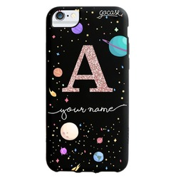 Black Case - Planets Initial Glitter Phone Case