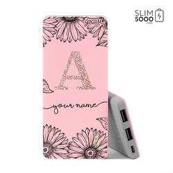 Power Bank Slim Portable Charger (5000mAh) Pink - Sunflowers Decor Glitter