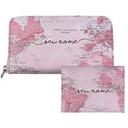Carteira Saffiano Personalizada - Mapa Mundi Rosa Manuscrita