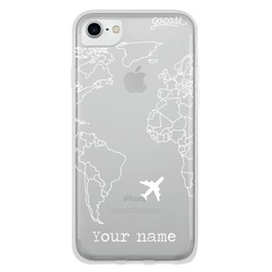 World Map Lines Customizable (White) Phone Case