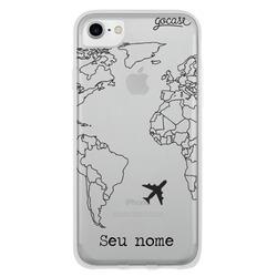 Capinha para celular Mapa Mundi Lines Customizável