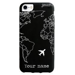 Black Case World Map Lines Customizable Phone Case