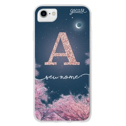 Night Cherry Blossoms Glitter Phone Case