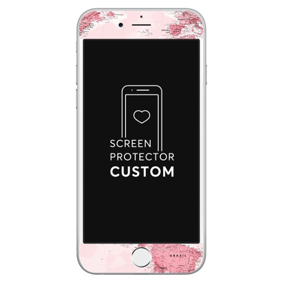 World Map Pink White Screen Protector - Tempered Glass