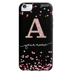 Black Case Hearts Glitter Phone Case