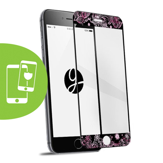 Pink Watercolor Black Screen Protector - Tempered Glass